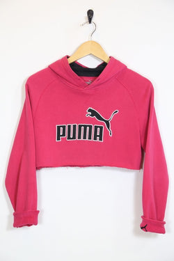 2000s Women's Reworked Puma Cropped Hoodie - Pink S