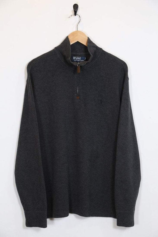 0df88d78c613 Vintage Men's Ralph Lauren 1/4 Zip Jumper - Grey L - M1362