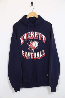 1990s Men's Russell Athletic Sports Hoodie - Blue L