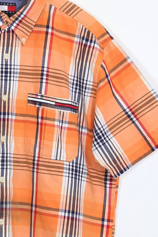 2d0d16d2 ... Tommy Hilfiger Shirt Vintage Tommy Hilfiger Orange Check Shirt