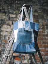 Custom Vintage Denim Tote Bag - Blue ONE SIZE