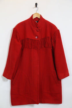 1990s Women's Woolrich Tassel Coat - Red L