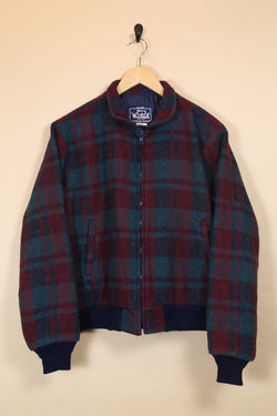 Women's Woolrich Checked Bomber Jacket - Red S