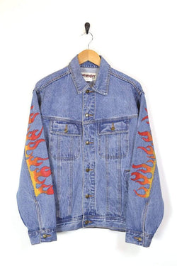 Men's Wrangler Flame Denim Jacket - Blue L