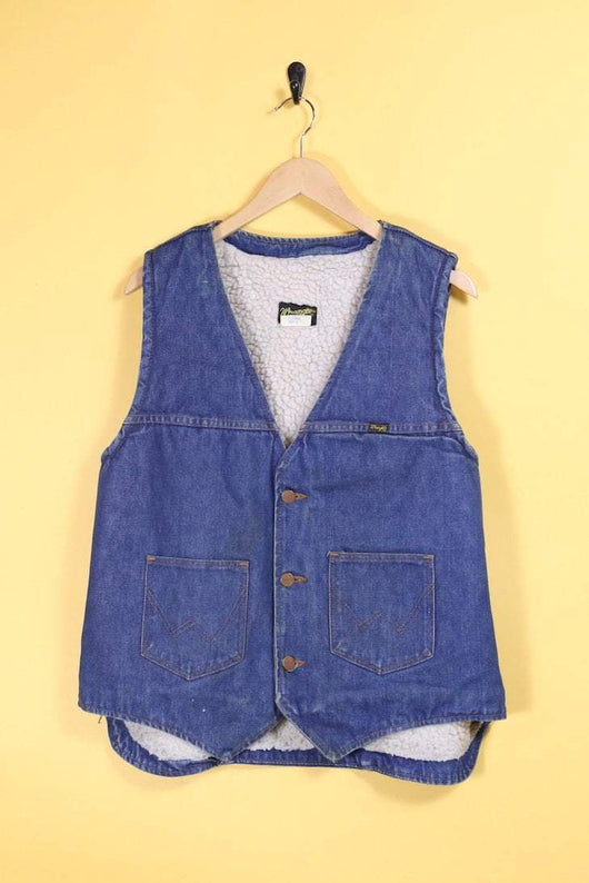 Wrangler Jacket Vintage Wrangler Fleece Lined Denim Vest
