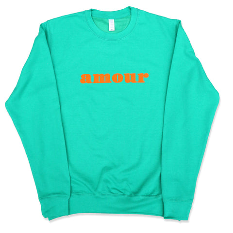 "CREWNECK ""AMOUR"" GREEN KELLY/ CITRUS"