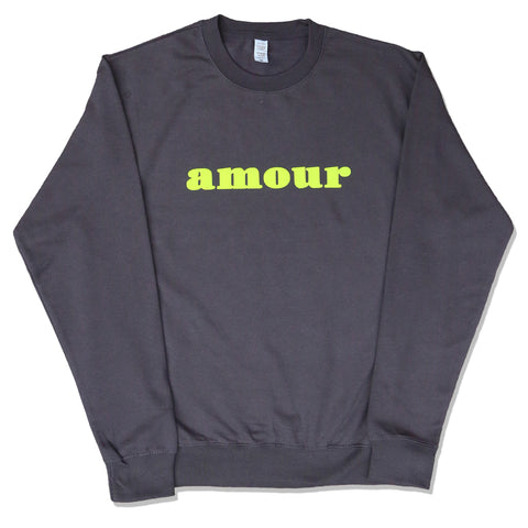 "CREWNECK ""AMOUR"" COAL BLACK/ FLUO"