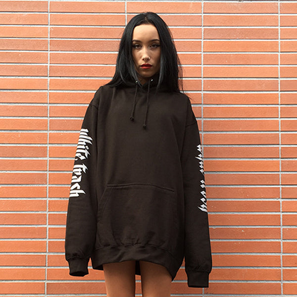 BLACK 'WHITE TRASH' OVERSIZED HOODIE (3M)