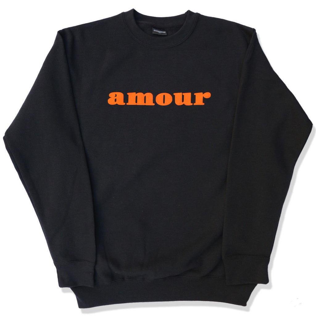 "CREWNECK SWEATER ""AMOUR"" BLACK/ CARROT"