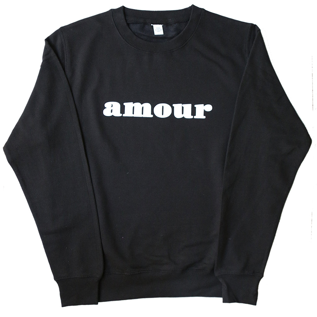 "CREWNECK SWEATER ""AMOUR"" BLACK/ WHITE"