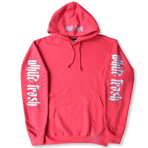 RED 'WHITE TRASH' OVERSIZED HOODIE (3M)