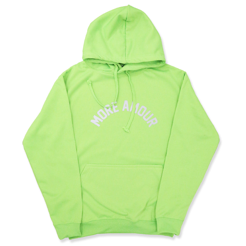 "NEON GREEN ""MORE AMOUR"" HOODIE"