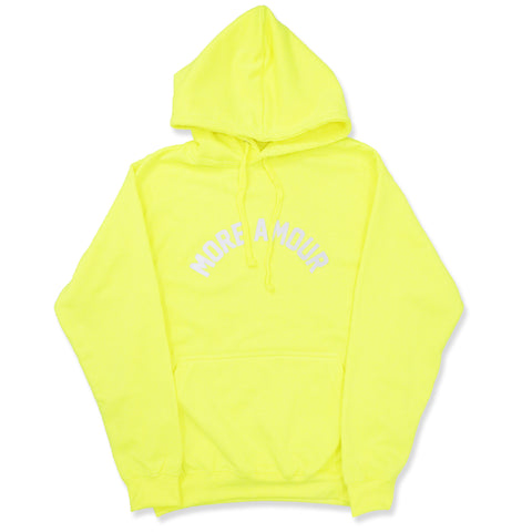 "NEON YELLOW ""MORE AMOUR"" HOODIE"