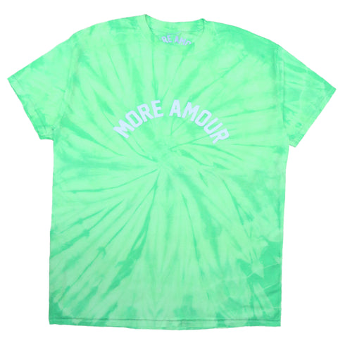 """MORE AMOUR"" GREEN NEON TIE & DYE TEE SHIRT"