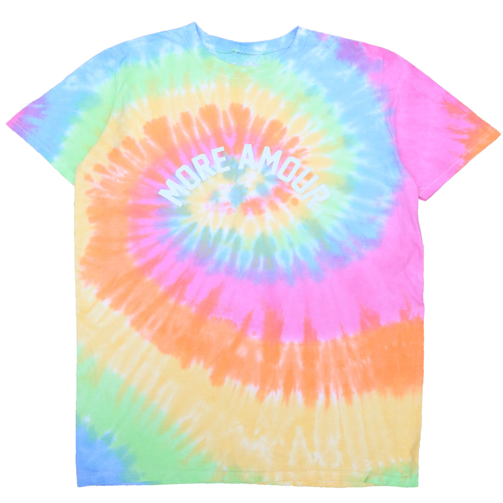 """MORE AMOUR"" RAINBOW TIE & DYE TEE SHIRT"