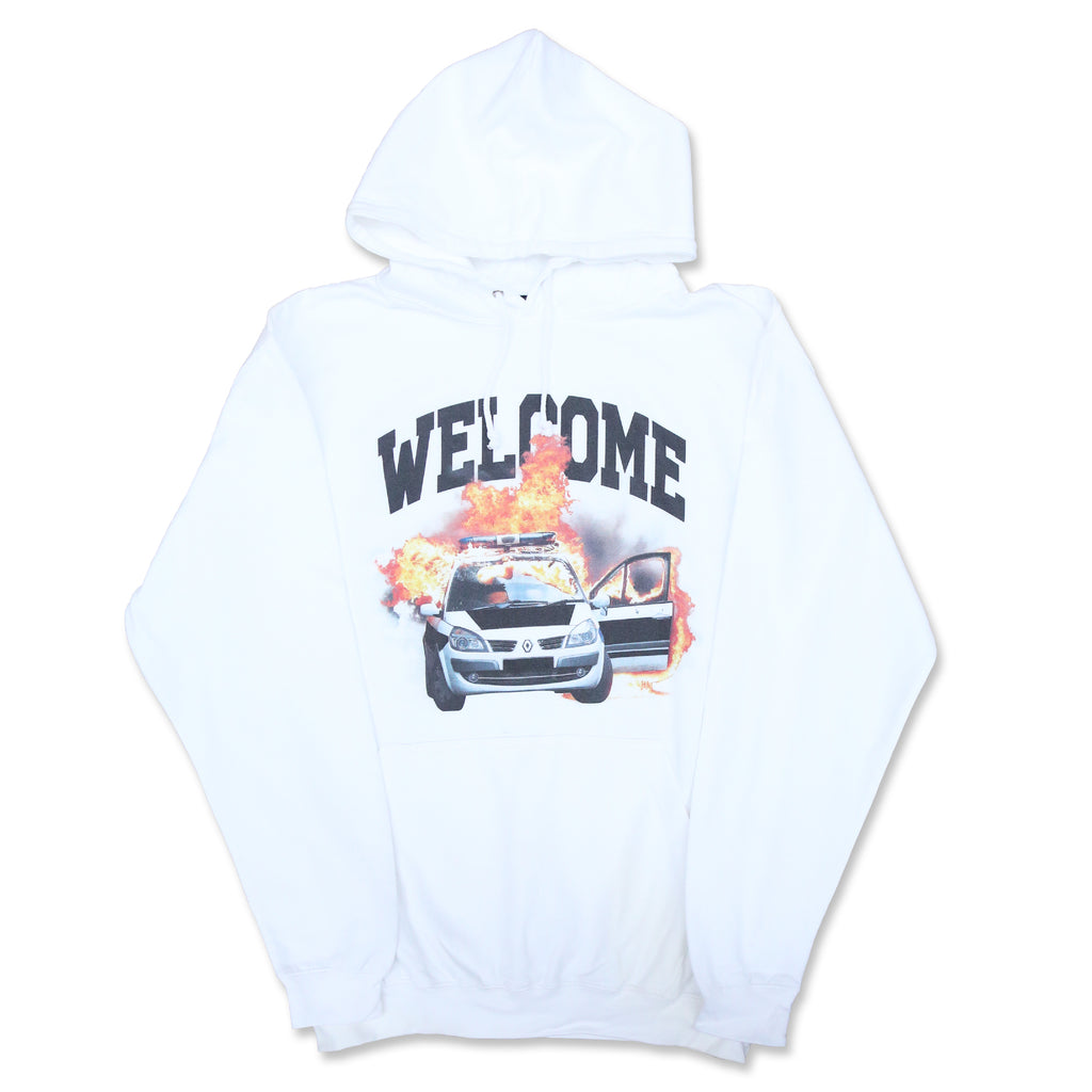 WHITE 'WELCOME' OVERSIZED HOODIE