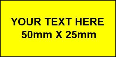 50mm x 25mm Yellow Traffolyte Label with Black Lettering