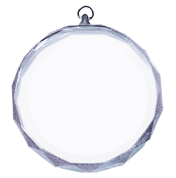 549 - Circle Glass Engraved Medal