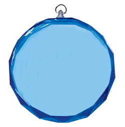 550 - Blue Circle Glass Engraved Medal