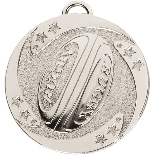 ONLINE RUGBY MEDAL STORE Silver Target Rugby Medal