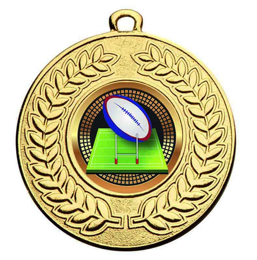 Gold Contour Rugby Medal