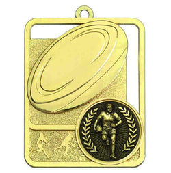 Gold Boot & Ball Rugby Medal
