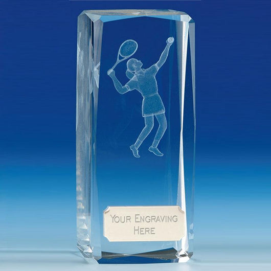 Clarity Female Glass Tennis Trophy
