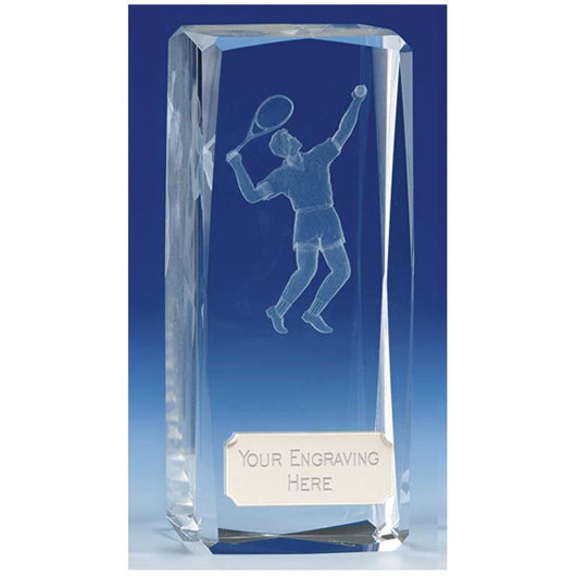 Clarity Male Glass Tennis Trophy