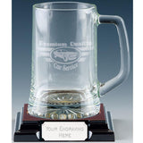 1 Pint Trojan Stern Glass Tankard, glass engraved text & logo