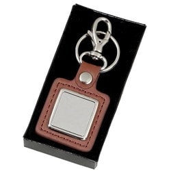 KF027 - Engraved metal & leather key ring