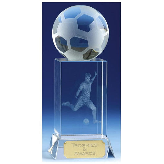 KK126 - Mercury Football Crystal Glass Award - Glass Football Awards & Trophies London