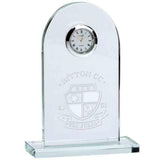 KM037B - Traverse Glass Engraved Crystal Presentation Clock (14cm)