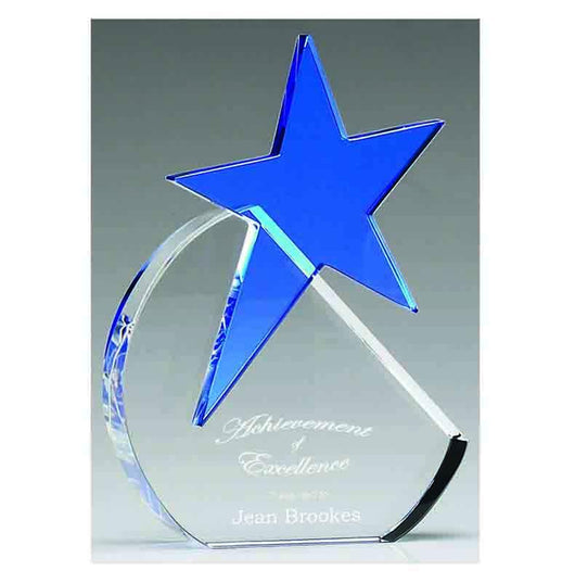KS005 - Aquamarine Star Crystal Glass Award (2 Sizes)