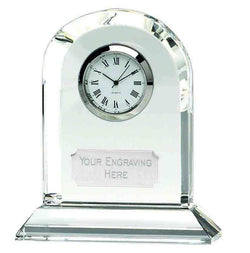 OK013P - Arch Optical Crystal Presentation Clock (10.5cm)