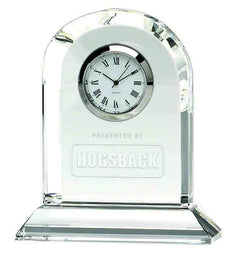 OK013 - Arch Glass Engraved Optical Crystal Presentation Clock (10.5cm)