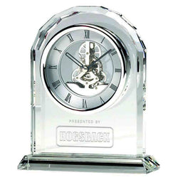 OK014 - Epoch Glass Engraved Optical Crystal Presentation Clock (17cm)