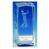 OK035 - Clarity Male Golfer Crystal Trophy (11.5cm)