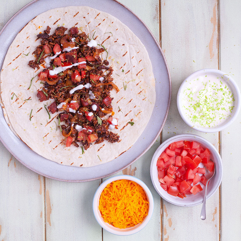 BEEF & CHORIZO BURRITOS WITH LIME DRESSING