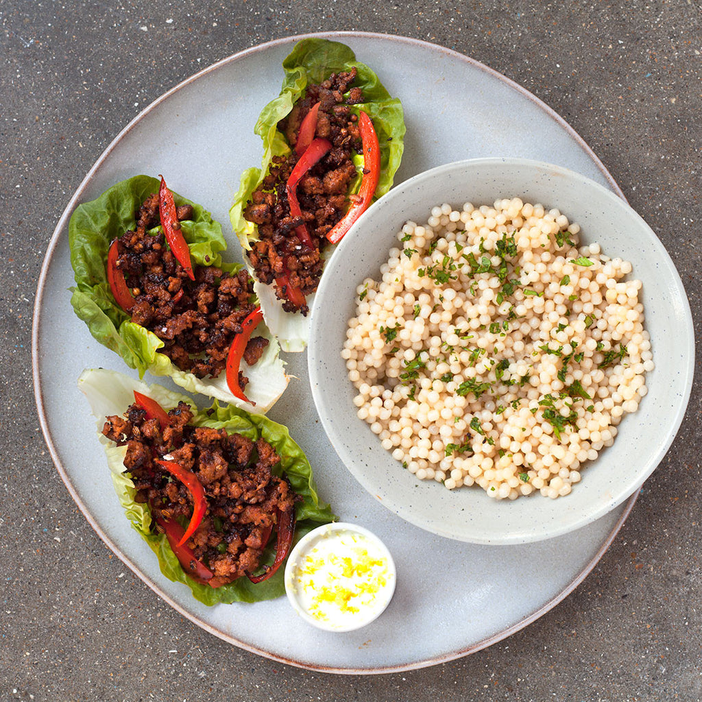 CRISPY SPICED LAMB LETTUCE CUPS WITH ROASTED RED PEPPER