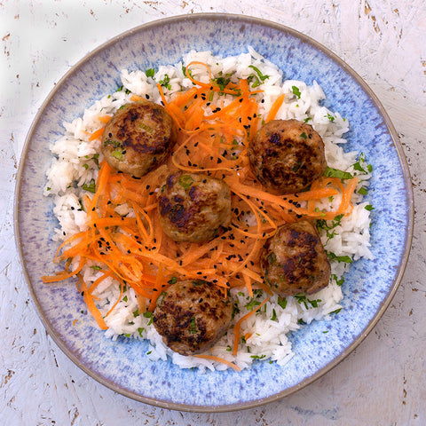 SWEET & SOUR PORK MEATBALLS WITH CARROT ʻSLAW