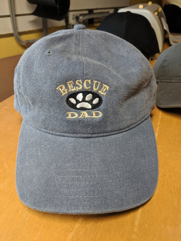 Rescue Dad grey embroidered baseball cap dog  cat