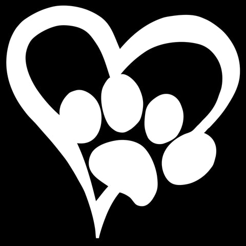 Paw Heart White Decal