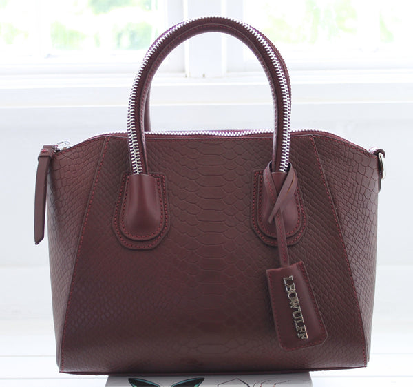 Boa |  Small bordeaux snake tote bag with silver hardware