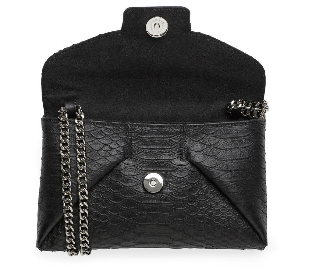 Mercer black silver clutch