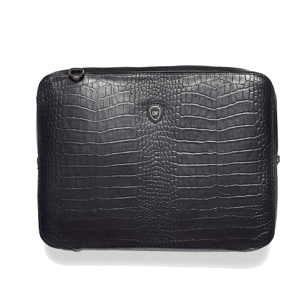 Bay black silver laptop bag - Leowulff
