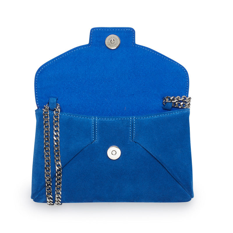 Heather cobalt blue silver clutch