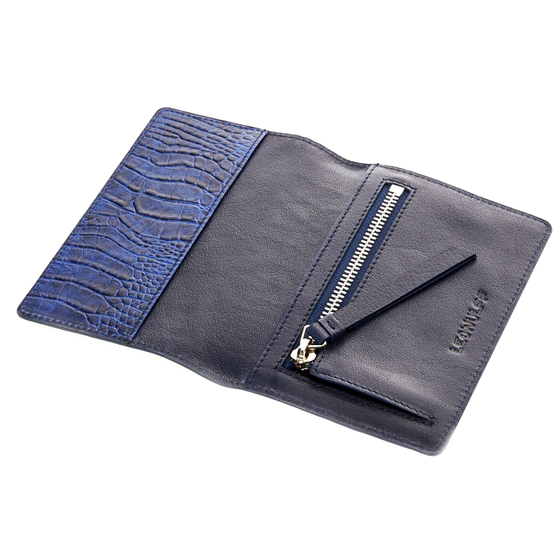 India blue croco passport-holder