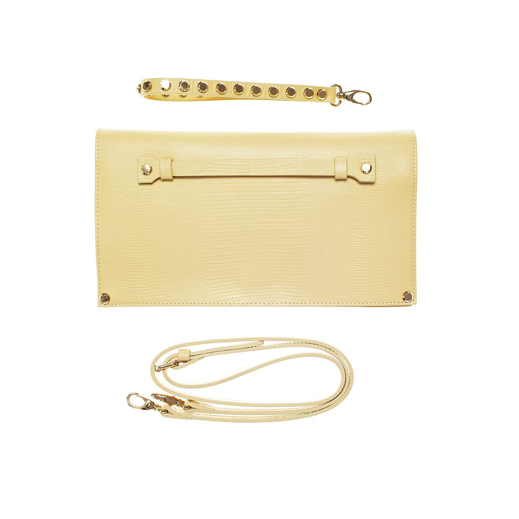 Liz yellow reptile embossed bag with gold hardware - Leowulff