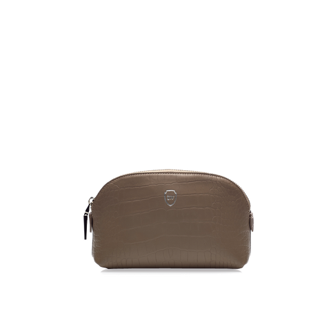 Bar taupe silver make-up bag
