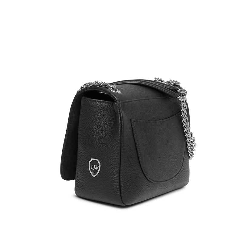 North black textured-leather silver bag
